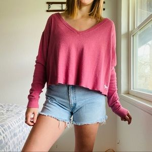 PINK // Oversized Cropped Pink Thermal V N…
